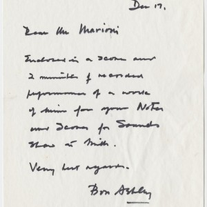 Letter to Tom Marioni from Robert Ashley (Notes and Scores for Sounds)