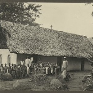 Schoolchildren in front of school, Mbaga, Tanzania, ca.1929-1933