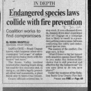 Endangered species law collide with fire prevention