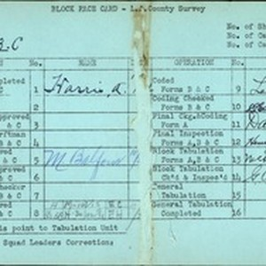 WPA block face card for household census (block 1863C) in Los Angeles ...