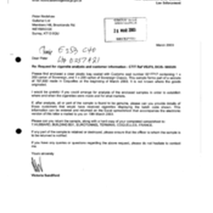 [Letter from Victoria Sandiford to Peter Redshaw in regards to request for ...