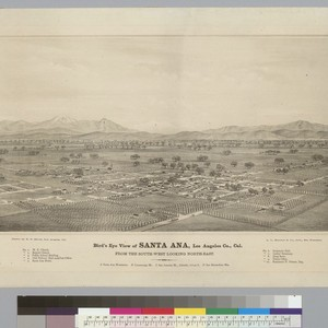 Bird's-eye view of Santa Ana, Los Angeles Co[unty], Cal[ifornia]: from the southwest ...