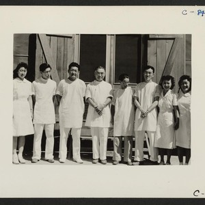 Manzanar, Calif.--Part of the dental clinic staff at this War Relocation Authority ...