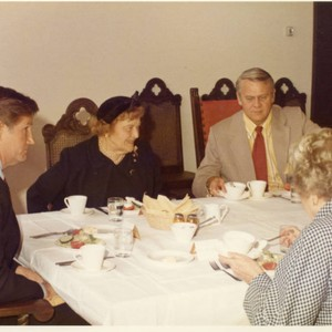 At the Luncheon Clockwise: Vice Chancellor Runnels, Mrs. Seaver Dr. Donald Sime, ...