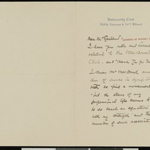 John Mead Howells, letter, to Hamlin Garland