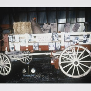 Horse-drawn wagon used as part of the California Cooperative Creamery's dairy exhibit, ...