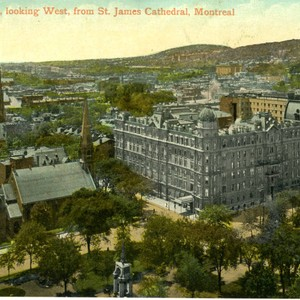 Postcard, General View, looking West, from St. James Cathedral, Montreal