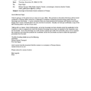 [Letter from Elias Assimakopoulos to Nigel Espin regarding Sovereign & Dorchester trasit ...