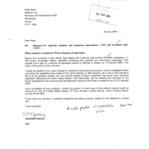 [Letter from Sharon Tapley to Nigel Espin regarding a request for cigarette ...