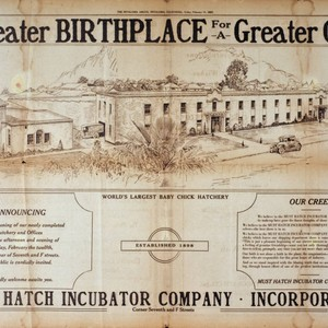 "Must Hatch Incubator Company advertisement for ""A Greater Birthplace for a Greater ..."