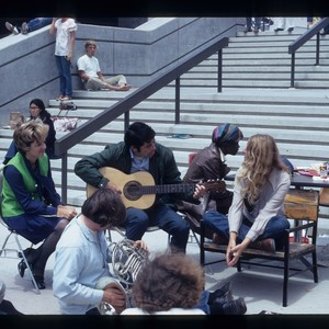 Students playing music in Gateway Plaza, ca. 1970