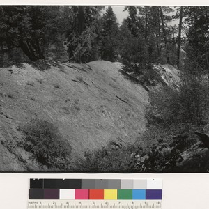 Side view of ridge on slope of mountains west of head of ...
