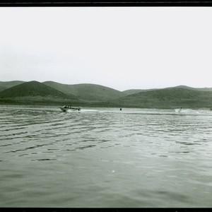 View of water skiers on Puddingstone Lake at Frank G. Bonelli Regional ...