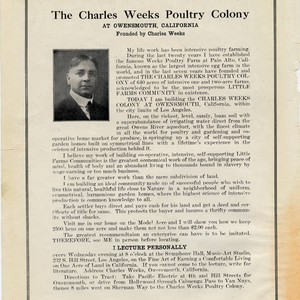 Charles Weeks Poultry Colony Adversisement