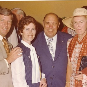 Guests pose at Pepperdine reception for President Ford, 1975