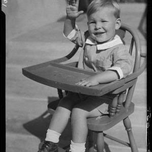 Child in highchair, Los Angeles, 1935