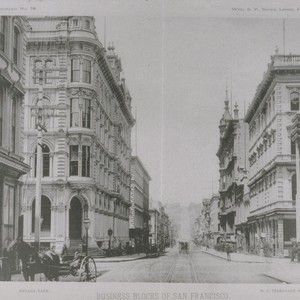 Business blocks of San Francisco. Montgomery Street from the corner of Pine, ...