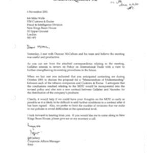 [Letter from Jeff Jeffery to Mike Wells regarding Policy on International Trade]