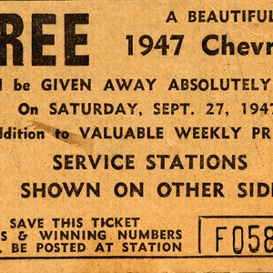 Raffle ticket for a 1947 Chevrolet, 1947 (front)
