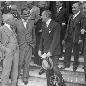 Robert Millikan, A. Compton, Marie Curie and Marconi at Nuclear Physics Congress, ...