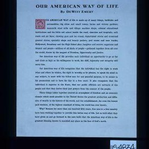 Our American way of life by DeWitt Emery ... Let us hold ...
