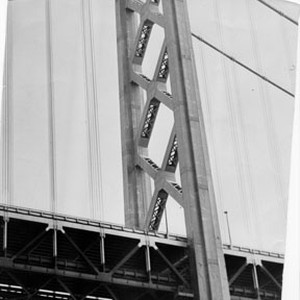 [View of one of Bay Bridge suspension towers]