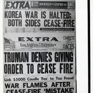 Photograph of two newspaper front pages regarding false cease fire in Korean ...