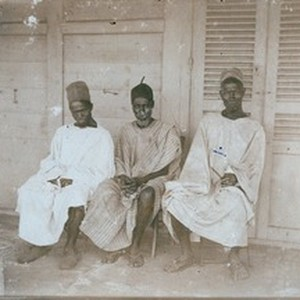 Kerbala's chief and two of his advisers, in Senegal
