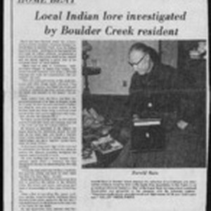 Home Beat: Local Indian lore investigated by Boulder Creek resident