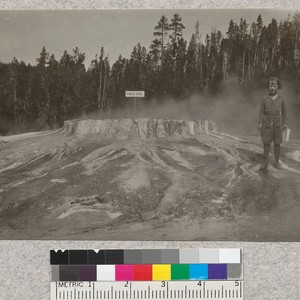 Punch Bowl Geyser. Yellowstone Park. (Lott) [Child may be Beatrice Metcalf.]