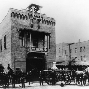 Horse and buggy firefighters and fire station