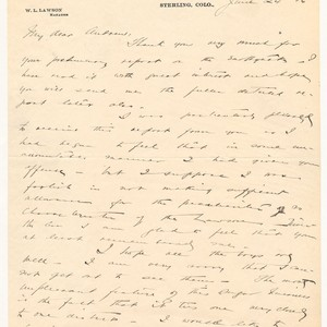 Letter to A.C. Lawson from William L Lawson.: June 24, 1906