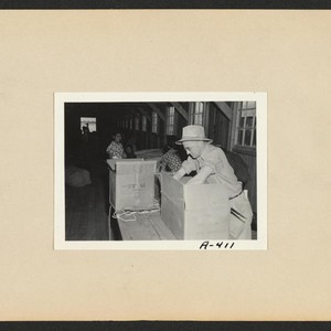 Poston, Ariz.--Baggage is inspected for contraband upon arrival at War Relocation Authority ...
