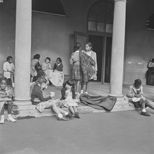 Girls eating lunch at school, San Francisco