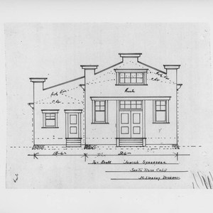Architectural drawing of the Jewish synagogue in Santa Rosa, California, prepared by ...
