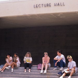 Students sitting on Lecture Hall steps, 1989