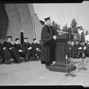 Calisphere Robert G Sproul In Cap And Gown Speaking At Ucla
