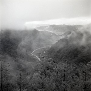 View of a misty mountain valley