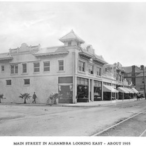Corner of Main Street and 1st Street looking east, Alhambra, California, ca.1905