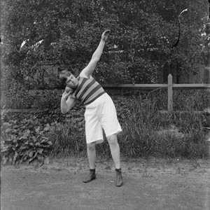 """Plaw [in shot put position], U.C. track, 1899,"" University of California at ..."