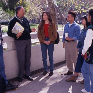 Professor Fielding's Urban Economics class, outside with a group of students.