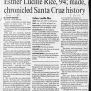Elster Lucille Rice, 94; made, chronicled Santa Cruz history