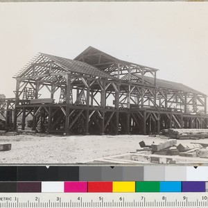 Redwood Region. Sawmill building frame of Sage Land and Improvement Company, Willits, ...