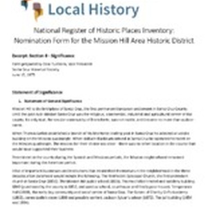 National Register of Historic Places Inventory: Nomination Form for the Mission Hill ...
