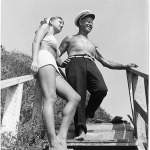 Captain George Watkins, dean of lifeguards, and Louise Hill, Santa Monica, Calif