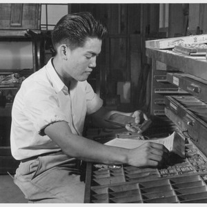 Roy Sugiura, former student of printing at the Roosevelt High School in ...