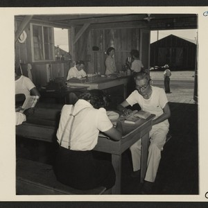 Manzanar, Calif.--One of the barrack buildings houses the library for evacuees at ...