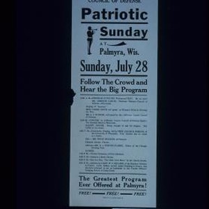 Free free free. Council of Defense. Patriotic Sunday at Palmyra, Wis. ...