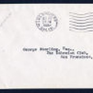 Envelope from Dreiser's letter to George Sterling, 1921 Ocotber 26