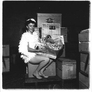 Betsy Olmsted Ashman with basket of eggs and an issue of the ...